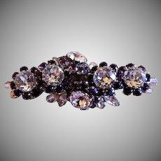 Schoffel & Co. Diamond & Amethyst Rhinestone Floral Motif Brooch