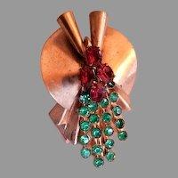 "Walter Lampl Art Deco Style ""Walburt Line"" Emerald & Ruby Rhinestone Brooch"