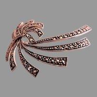 "Vintage Sterling Silver & Marcasite Gems ""Flowing Ribbons"" Design Brooch"