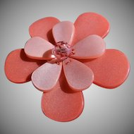 Vintage Two-Tone Peach Color Lucite Floral Design Brooch