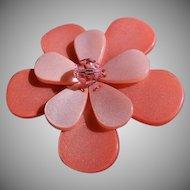 Vintage Two-Tone Peach Color Lucite Floral Design Brooch