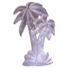 """Vintage White MOP Lucite """"Palm Tree"""" Brooch"""