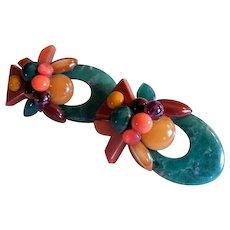 "Vintage Multi-Color ""Tropical Fruit Salad"" Design Bakelite Clip-Style Earrings"