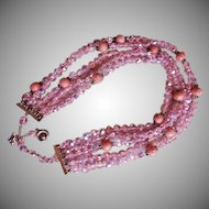 Regency Jewels Five Strand Cut Pink Crystals and Beaded Necklace