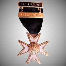 "Freeport, IL Fireman ""Maltese Cross"" Dress/Presentation/Retirement Uniform Ribbon"