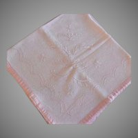 1897 Hand Embroidered Linen Christening Baby Head Blanket w/Provenance