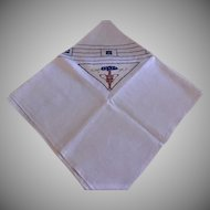 Vintage Arts & Crafts Design Hand-Embroidered Linen Luncheon Cloth