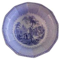 "E Challinor & Co. Blue Transfer-Ware ""Nanking"" Pattern Ironstone Large Serving Bowl"