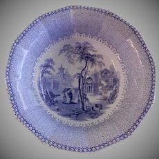 "E Challinor & Co. Blue Transfer-Ware ""Nanking"" Pattern Ironstone Large Serving Bowl"