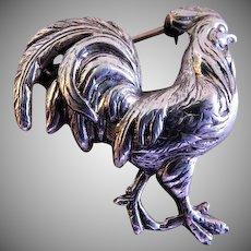 """Beau"" Sterling Silver Rooster Brooch"