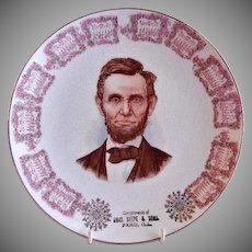 Porcelain 1911 Advertising/Promotional Calendar Plate w/Portrait of Abraham Lincoln - Peru ILL