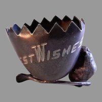 """Egg, Wishbone & Chick """"Best Wishes"""" Silver Plated Figural Toothpick Holder"""
