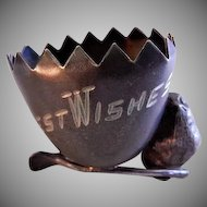 "Egg, Wishbone & Chick ""Best Wishes"" Silver Plated Figural Toothpick Holder"