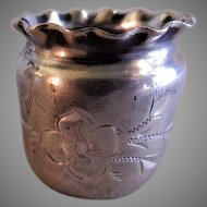 Warner Silver Mfg. Co. Silver Plated Toothpick Holder w/Engraved Floral Motif