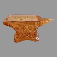 """EAPG -  Amber Daisy & Button Pattern Figural """"Anvil"""" Match Holder"""
