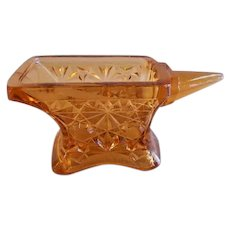 "EAPG -  Amber Daisy & Button Pattern Figural ""Anvil"" Match Holder"