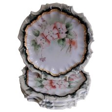 Tressemann & Vogt Hand Painted Floral Plates w/Apple Blossoms Motif- Set of 4