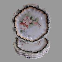 Tressemann & Vogt Hand Painted Floral Plates w/Apple Blossoms Motif- Set of 4