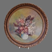 """Victorian Era """"Bouquet of Lilacs"""" Oil Painting - Artist Signed, Circa 1890"""