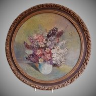 "Victorian Era ""Bouquet of Lilacs"" Oil Painting - Artist Signed, Circa 1890"