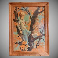 "Vintage Framed Paint-by-Number Oil Painting of Boy in a Tree - ""Day Dreamer"""