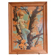 """Vintage Framed Paint-by-Number Oil Painting of Boy in a Tree - """"Day Dreamer"""""""