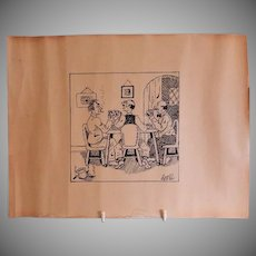 "Original Pen & Ink Characterization of ""Weekly Poker Game"", Artist Signed"