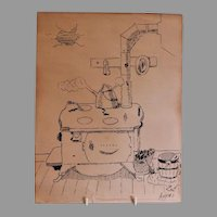 "Original Pen & Ink Characterization of ""1920 American Kitchen"", Artist Signed"