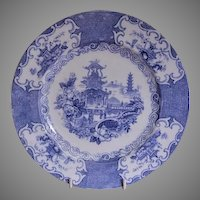 """Charles Allerton & Sons Blue Transfer """"Chinese"""" Pattern Plate"""