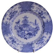 "Charles Allerton & Sons Blue Transfer ""Chinese"" Pattern Plate"