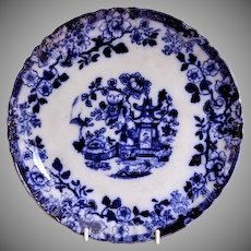 "Flow Blue Porcelain Plate with ""Oriental"" Pattern"