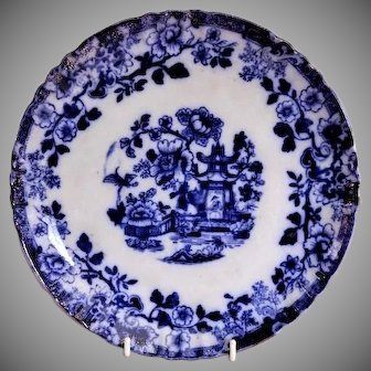 "Flow Blue Porcelain Plate with ""Oriental"" Pattern"
