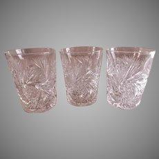 """""""Brilliant"""" Cut Glass Tumblers - Set of 3"""
