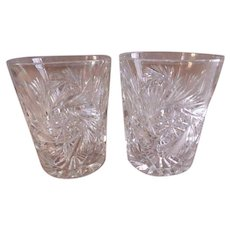 """Brilliant"" Cut Glass Tumblers - Pair"