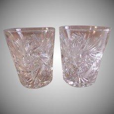 """Brilliant"" Cut Glass Tumblers - Pair"