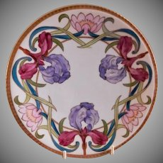 Blakeman & Henderson Hand Painted Cabinet Plate w/Iris Blossoms Motif