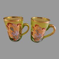 Bohemian/Czech Hand Painted Art Glass Miniature Liqueur Mugs - Pair
