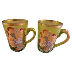 Bohemian/Czech Hand Painted Art Glass Miniature Liqueur Mugs - Pair