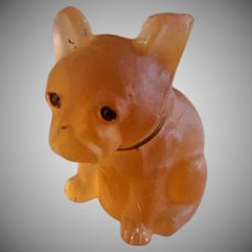 """Czechoslovakia Frosted Amber Glass Miniature """"French Bull Dog"""" Figure"""