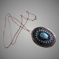 Egyptian Revival Sterling Silver & Faux Turquoise Scarab Pendant Necklace/Brooch