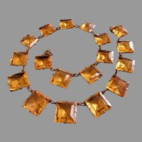 Art Deco Gold-Tone & Czech Faceted Amber Crystals Necklace