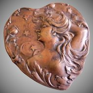 Art Nouveau Lady, Floral & Stars Repousse Brass Heart-Shaped Button Cover