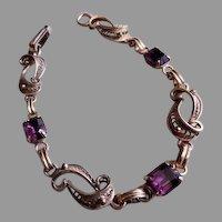 Filigree Silver-tone & Amethyst Rhinestones Link Bracelet