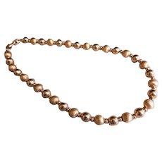 "Signed ""Napier"" Bright & Brushed Gold-Tone Beaded Necklace"