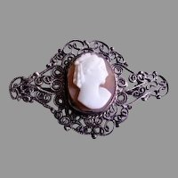 "Victorian Era Cameo ""Lady's Profile"" Brooch w/800 Silver Filigree Mounting"
