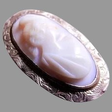 """Victorian Era Cameo """"Lady's Profile"""" Brooch w/Engraved Gold-Wash Mounting"""