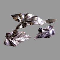 """Danecraft Sterling Silver Mid-Century """"Elephant Ear Plant"""" Brooch & Earrings Set"""