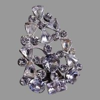 A  E Waller 1930's Silver-Tone & Diamond Rhinestone Fur/Dress Clip