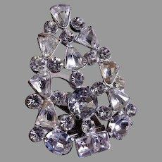A  E Waller 1930's Silver-Tone & Diamond Rhinestone Fur/Dress Clip