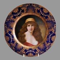 Art Nouveau Vienna Art Plate Tin Lithograph Portrait